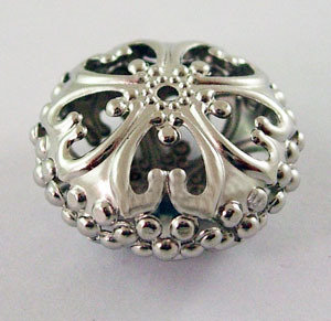 Rondelle Spacer Filigree Platinum 23mm x12.5mm