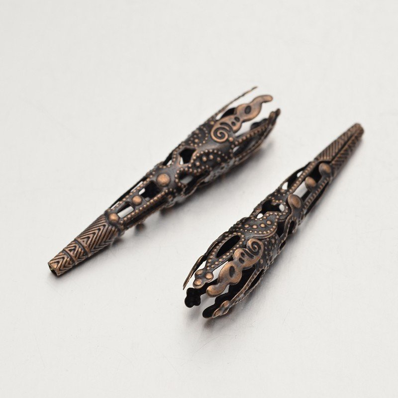 Filigree End Cone Antique Copper 8x42mm