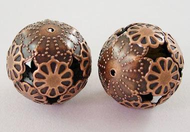 Round Spacer Filigree Antique Copper 20mm