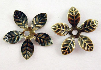 Flower Bead Cap Antique Brass 15mm