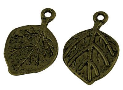 Leaf Pendant Antique Brass 22mm