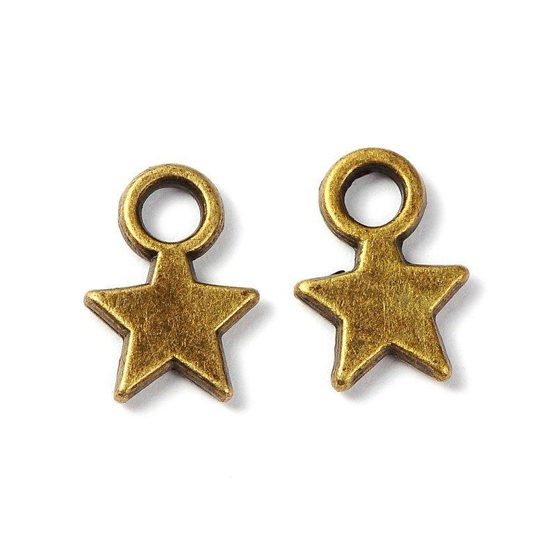 Star Pendant Antique Brass 10mm