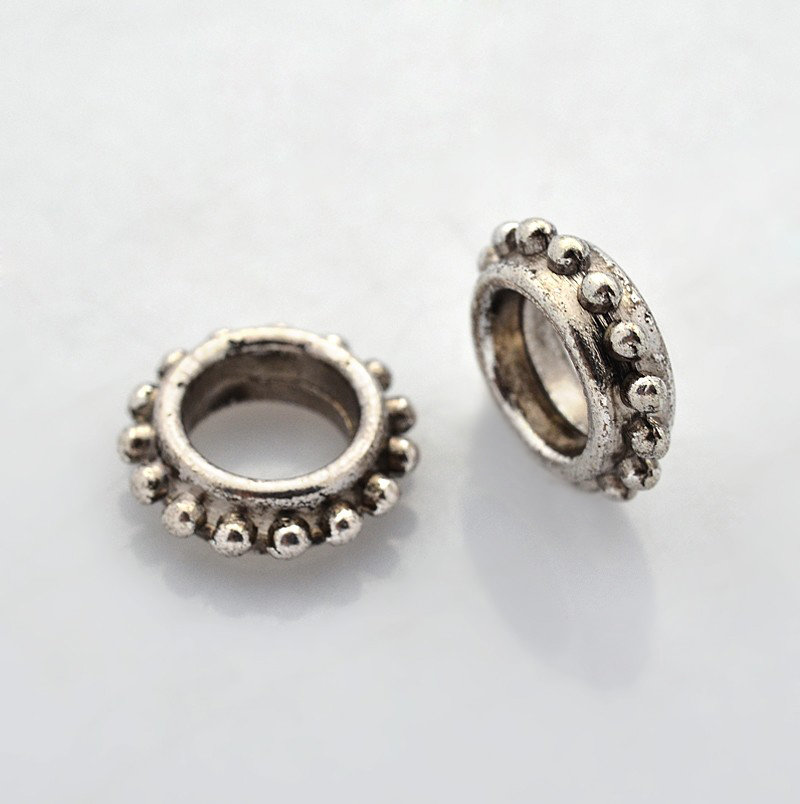 Bumpy Spacer Bead Antique Silver  13.5mm