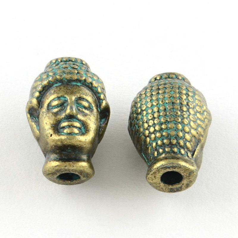 Buddha Head Guru Bead Bronze Green  13x9x8mm