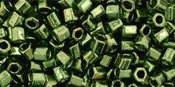 8/0 Hex Toho Tr Fern Green Gold Lustre 333