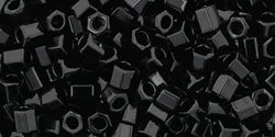 8/0 Hex Toho Opaque Jet Black 49