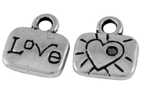 Love Charm Antique Silver 11x10mm