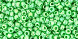 11/0 Round Toho Opaque Green AB Lustre 407