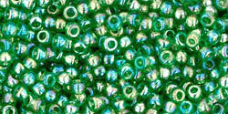 11/0 Round Toho Transparent Green AB 167b