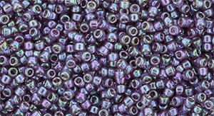 15/0 Round Toho Transparent Purple Green Gold Lustre 206