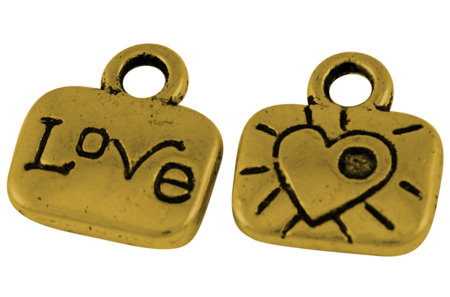 Love Charm Antique Gold 11x10mm