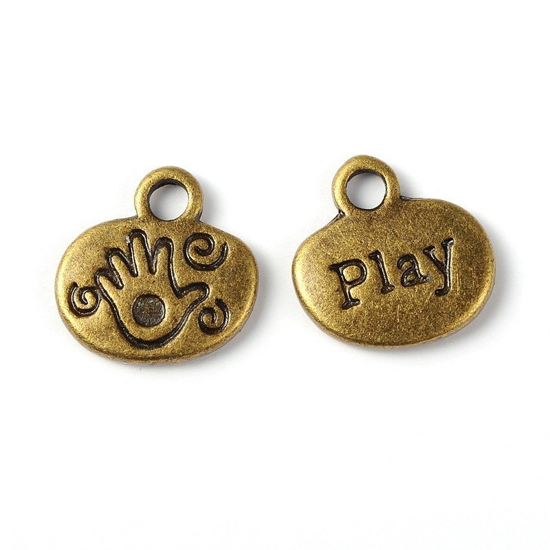 Play Charm Antique Brass 13x13mm