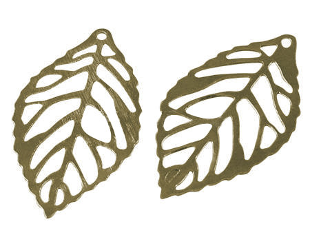 Leaf Charm  Antique Brass 23mm