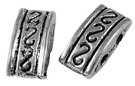 2 Hole Spacer Antique Silver 5x10mm