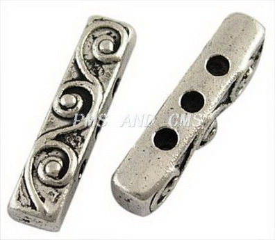3 Hole Spacer Antique Silver 18x4mm