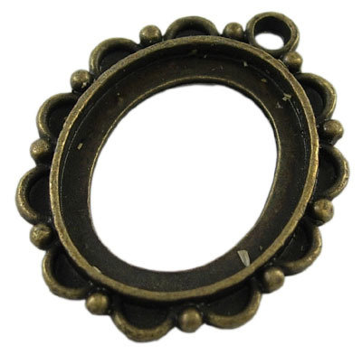 Cabochon Setting Antique Brass 22x19mm tray