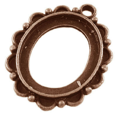 Cabochon Setting Antique Copper 22x19mm tray