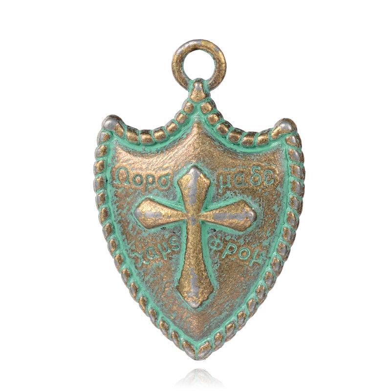 Sheild Pendant  Antique Brass Green 31x21x4mm