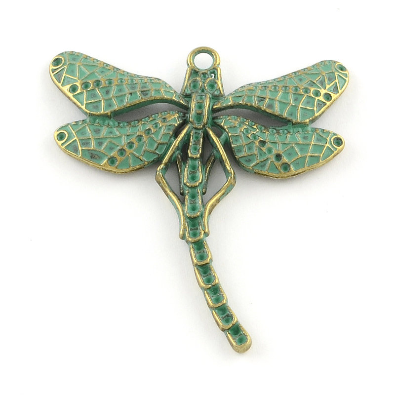 Dragonfly Pendant Antique Brass Green 55x50x3