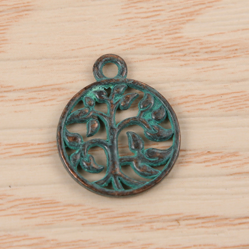 Tree of Life Charm Antique Brass Green 18x15x1.5mm