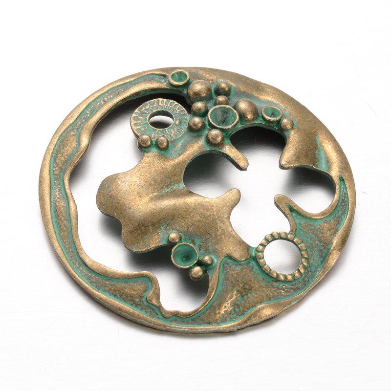 Steam Punk Pendant Antique Brass Green 49x5mm