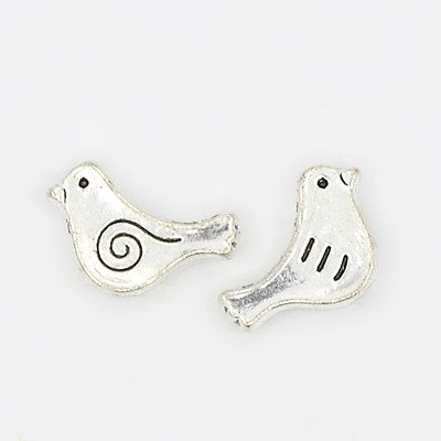 Bird Bead Antique Silver 9x15mm