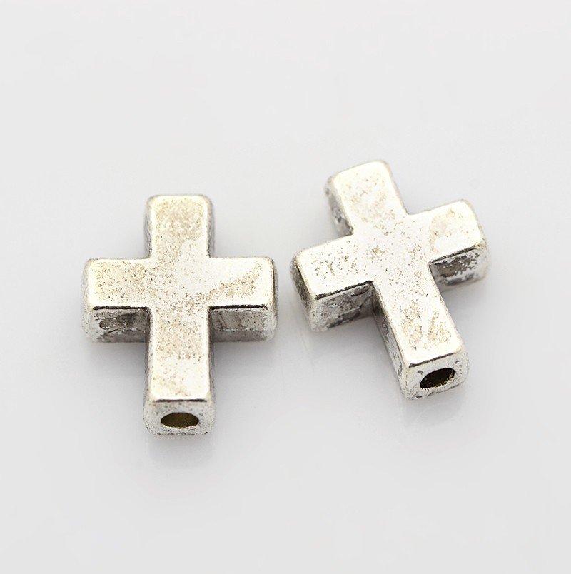 Cross Bead Antique Silver 15x12x5mm