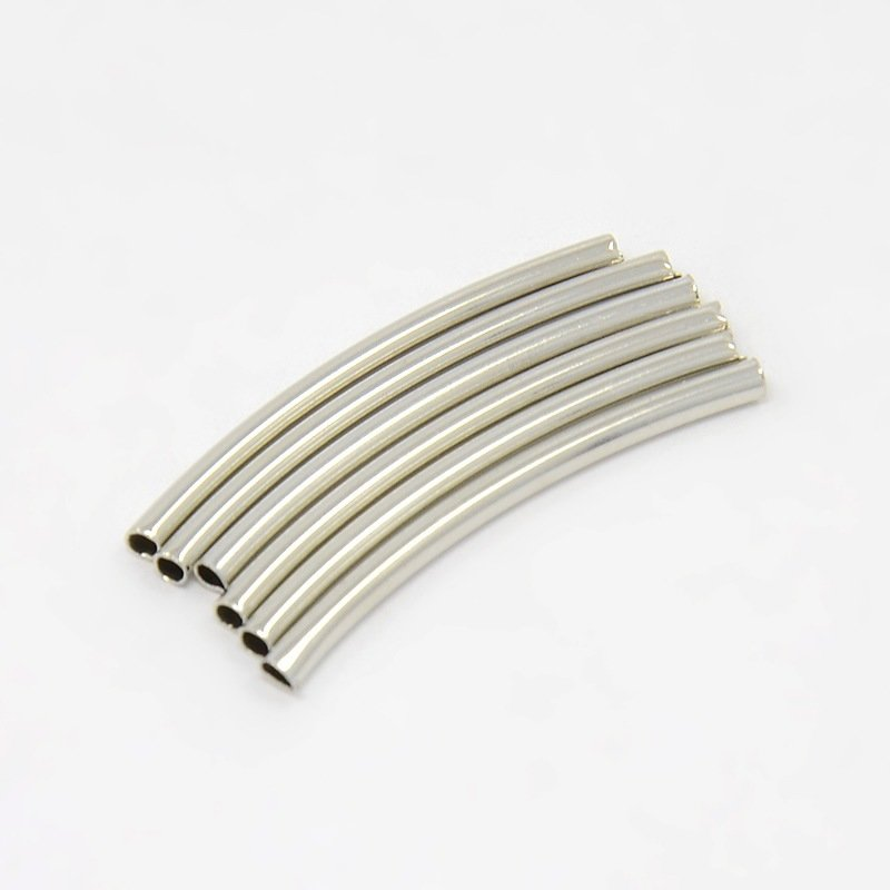 Tube Bead  Curved Silver 30mm