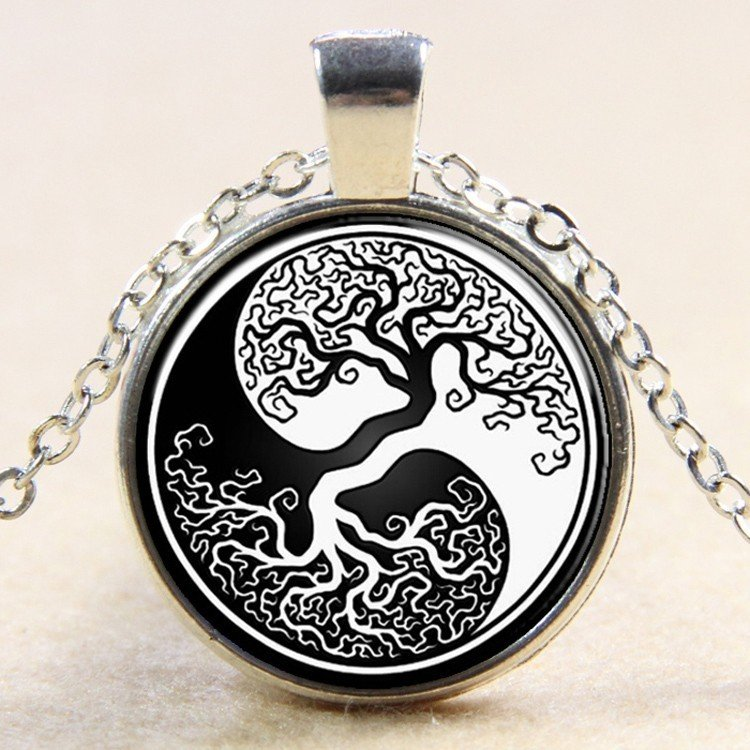 "27mm Tree of Life Yin Yang Necklace  silver colour 18"" Chain"