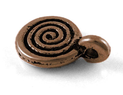 Swirl Charm Antique Copper 8x12mm