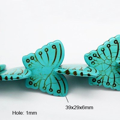 "Dyed Natural Howlite Butterfly  39x29mm 16"" Strand"