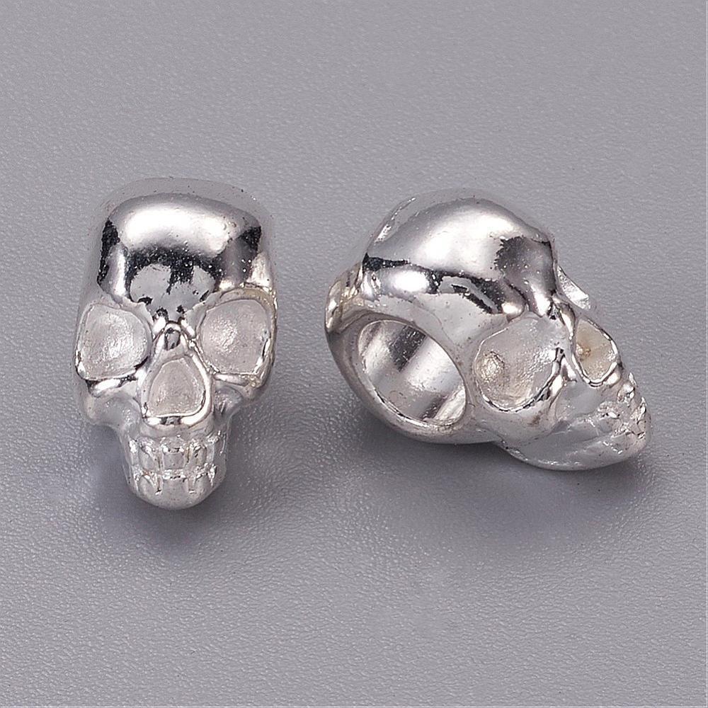 Skull Silver  12x10x8mm