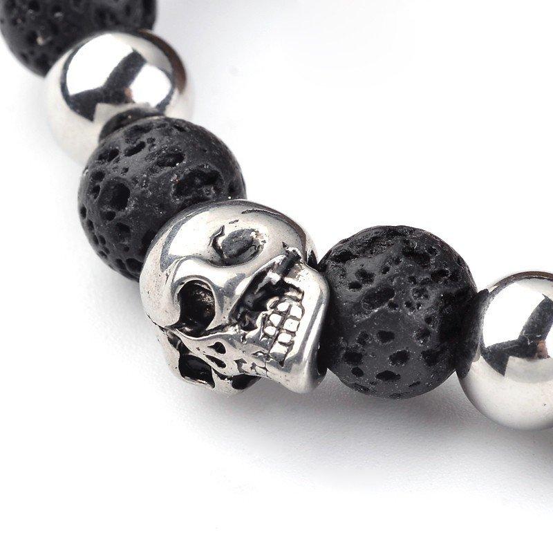 8mm Lava Bead and Stainless Steel Skull Bracelet