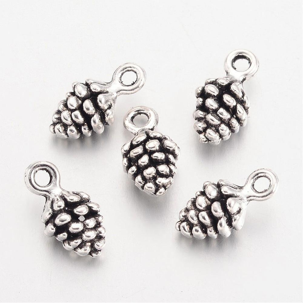 Pine Cone Charm Antique Silver 13x7x5mm