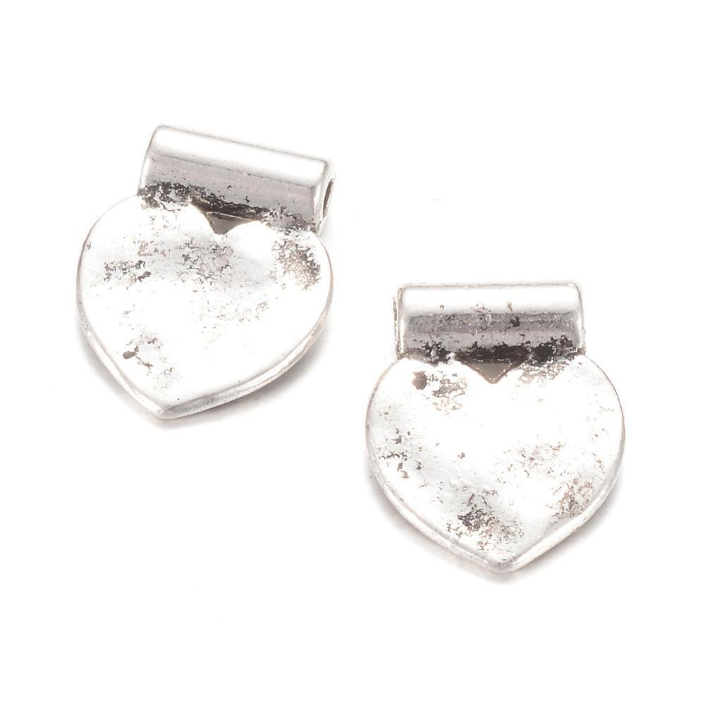 Heart Charm Antique Silver 14x11x1mm