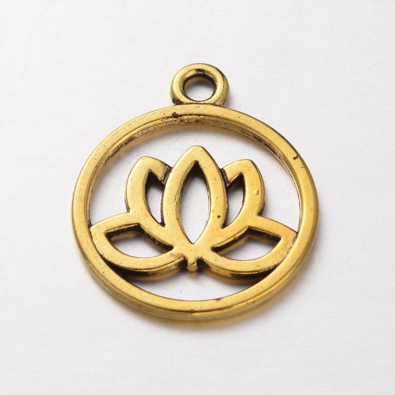 Lotus Charm Antique Gold  24x20x1.5mm