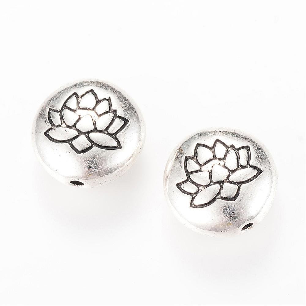 Lotus Bead Antique Silver 14x6.5mm