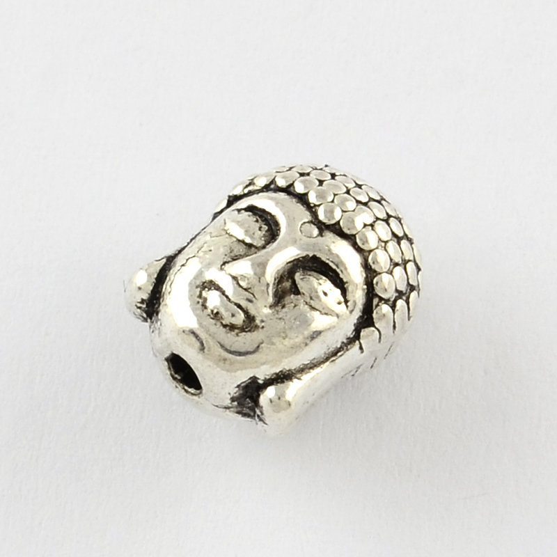 Buddha Head Bead Antique Silver 11mm