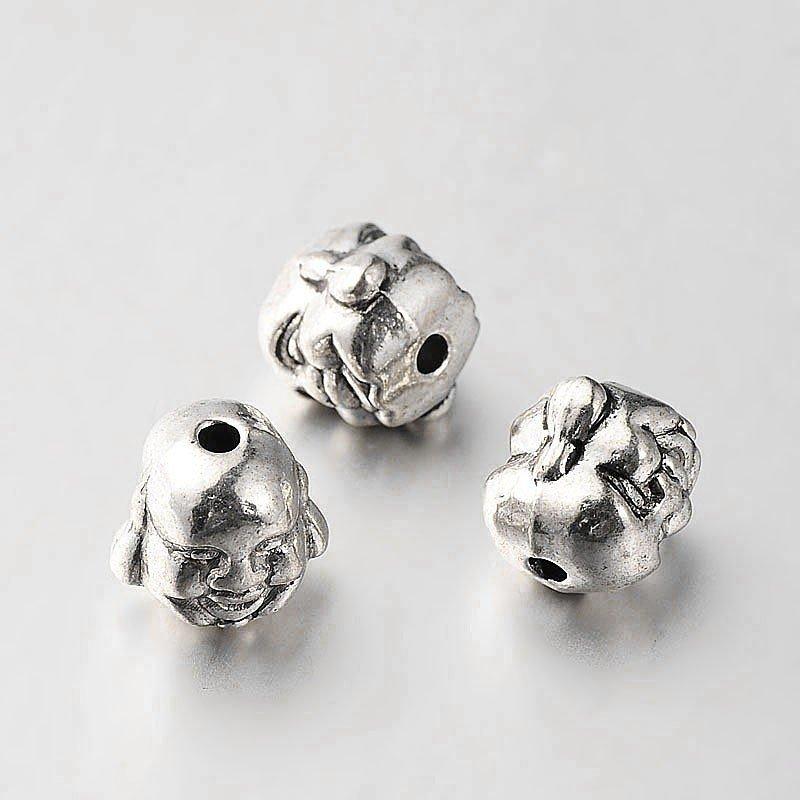 Buddha Head Bead Antique Silver 10mm