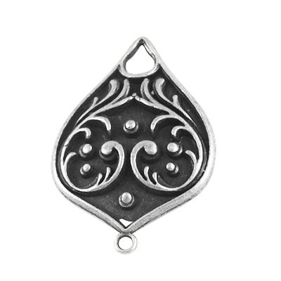Fancy Drop Charm Antique Silver 30x21x6mm