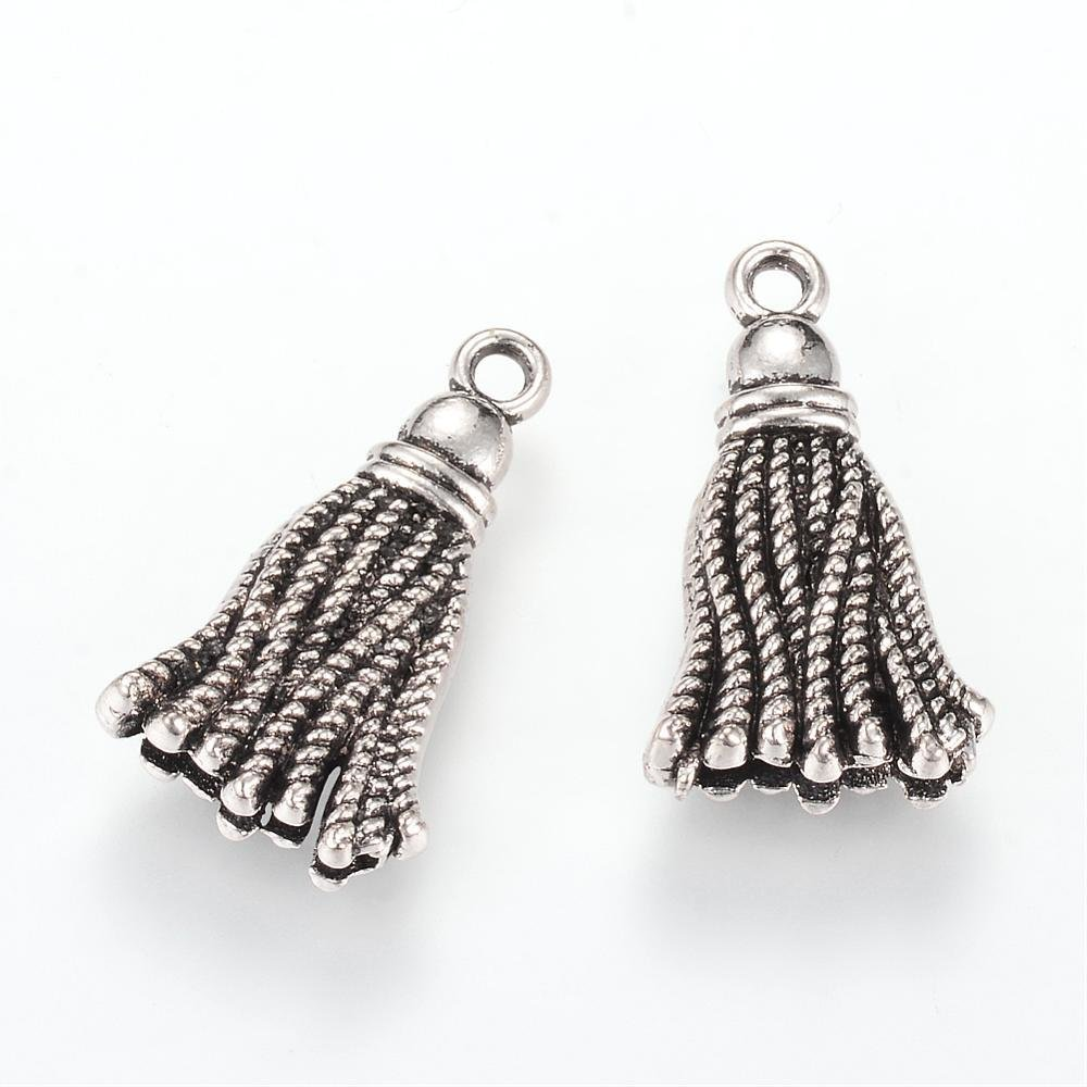 Tassel Charm Antique Silver 20x12x5mm