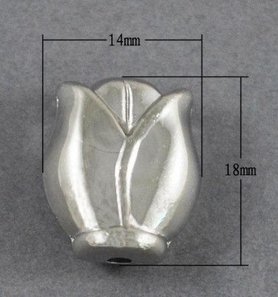 Flower Bead Platinum Tulip 18x14x15mm