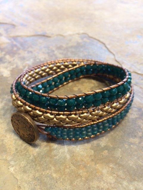 "Triple Wrap Bracelet Teal and Gold Matte  21"" plus 2"" adjustment"