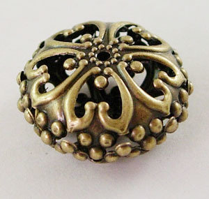 Rondelle Spacer Filigree Antique Brass 23mm x12.5mm