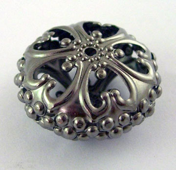 Rondelle Spacer Filigree Gun Metal 23mm x12.5mm