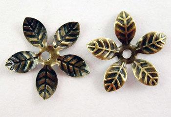 Flower Bead Cap Antique Brass 15mm