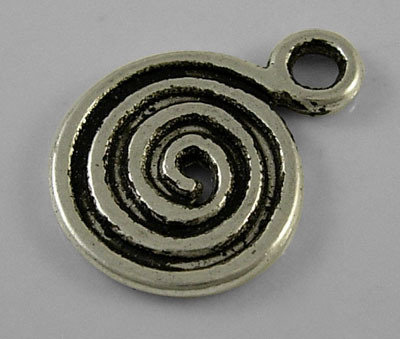 Swirl Pendant Antique Silver 13.5x18mm