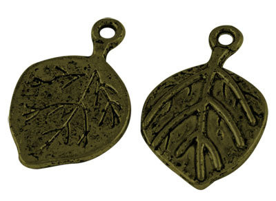 Leaf Pendant Antique Brass 22mm