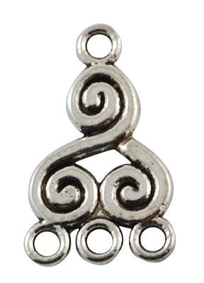 Swirl 1 to 3 Link Antique Silver 22mm