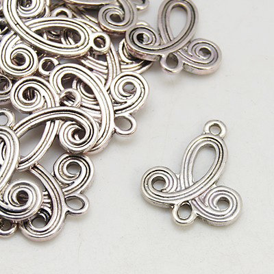 Curly  1 to 1 or 1 to 3 Link Antique Silver 22mm